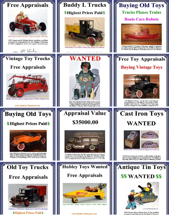 FREE ANTIQUE TOY APPRAISALS ~ Know the facts before selling your vintage toys. Buddy L Museum the worlds largest & oldest buyer of antique toys Buying American Japan German Vintage Toys Paying Immediate Cash