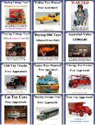 Free Toy Appraisals, Buying antique toys,1930's Buddy L Toys, Buddy L Museum buying vintage toys paying 40% - 70% more than ebay, antique dealers, private collectors. 1920's Buddy L Toys Reference Guide, Buddy L Truck Identification, German tin toy information, vintage space toys price guide